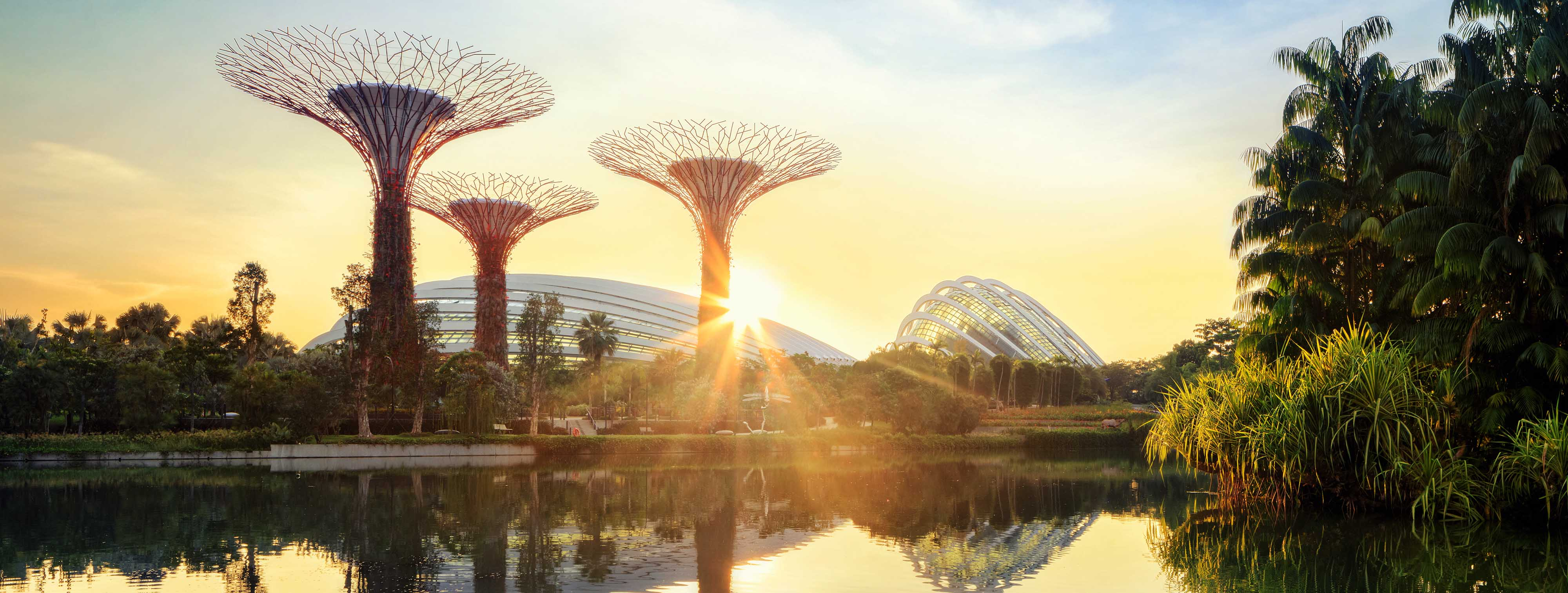 Supertree grove and Cloud garden greenhouse at sunrise